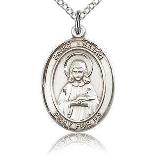 Sterling Silver 3/4in St Lillian Medal & 18in Chain