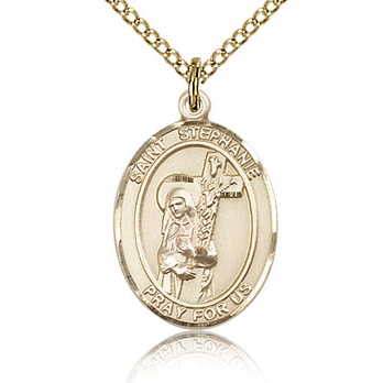 Gold Filled 3/4in St Stephanie Medal & 18in Chain