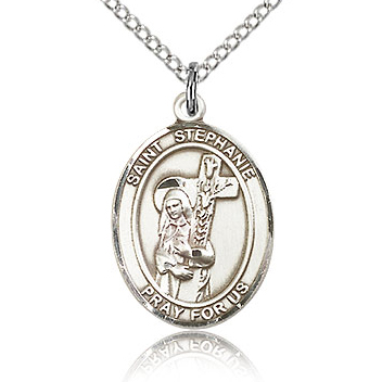 Sterling Silver 3/4in St Stephanie Medal & 18in Chain