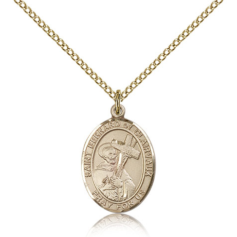 Gold Filled 3/4in St Bernard Medal & 18in Chain