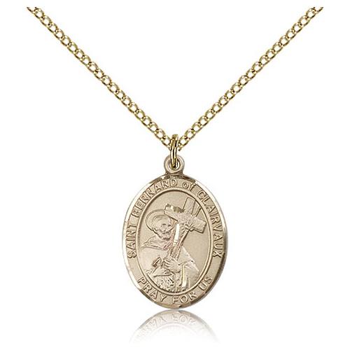 Gold Filled 3/4in St Bernard Medal & 18in Chain