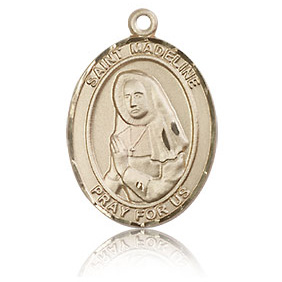 14kt Yellow Gold 3/4in St Madeline Medal
