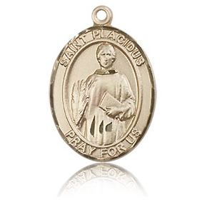 14kt Yellow Gold 3/4in St Placidus Medal
