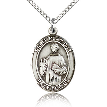 Sterling Silver 3/4in St Placidus Medal & 18in Chain