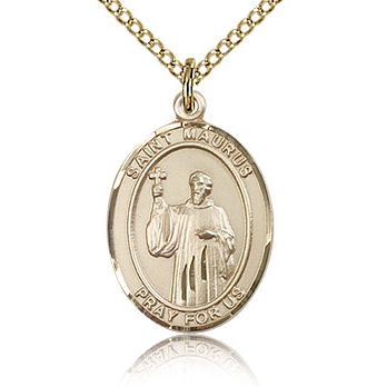 Gold Filled 3/4in St Maurus Medal & 18in Chain