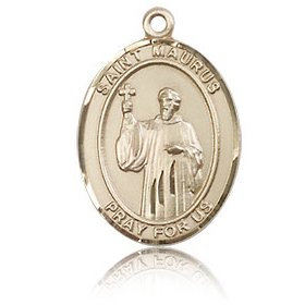 14kt Yellow Gold 3/4in St Maurus Medal