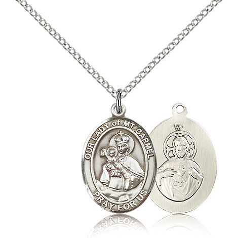 Sterling Silver 3/4in Our Lady of Mount Carmel Medal & 18in Chain