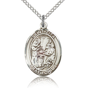 Sterling Silver 3/4in St Zita Medal & 18in Chain