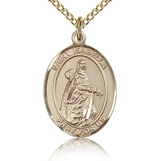 Gold Filled 3/4in St Isabella Medal & 18in Chain