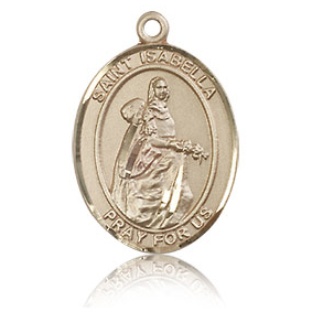 14kt Yellow Gold 3/4in St Isabella Medal