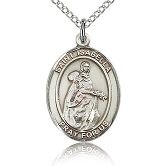 Sterling Silver 3/4in St Isabella Medal & 18in Chain