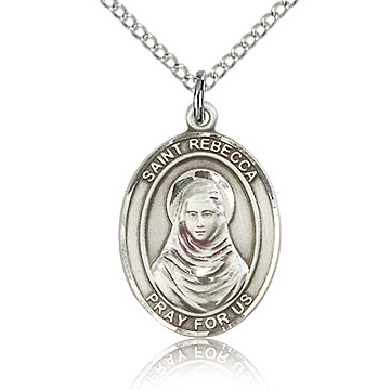 Sterling Silver 3/4in St Rebecca Medal & 18in Chain