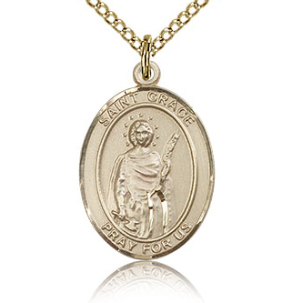 Gold Filled 3/4in St Grace Medal & 18in Chain