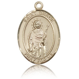 14kt Yellow Gold 3/4in St Grace Medal
