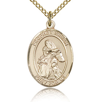 Gold Filled 3/4in St Isaiah Medal & 18in Chain