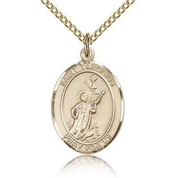 Gold Filled 3/4in St Tarcisius Medal & 18in Chain