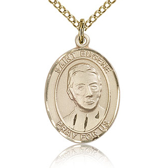 Gold Filled 3/4in St Eugene Medal & 18in Chain