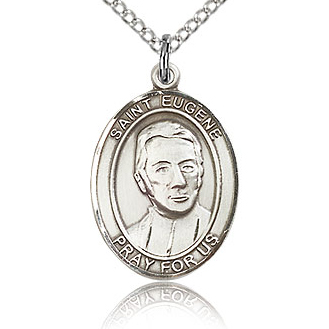Sterling Silver 3/4in St Eugene Medal & 18in Chain