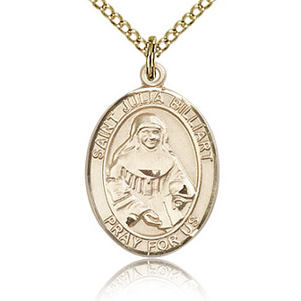 Gold Filled 3/4in St Julia Billiart Medal & 18in Chain