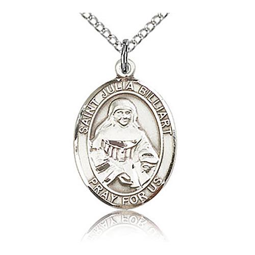 Sterling Silver 3/4in St Julia Billiart Medal & 18in Chain