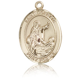 14kt Yellow Gold 3/4in St Colette Medal