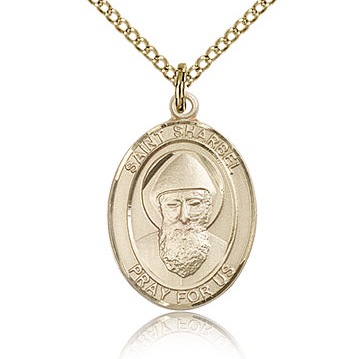 Gold Filled 3/4in St Sharbel Medal & 18in Chain