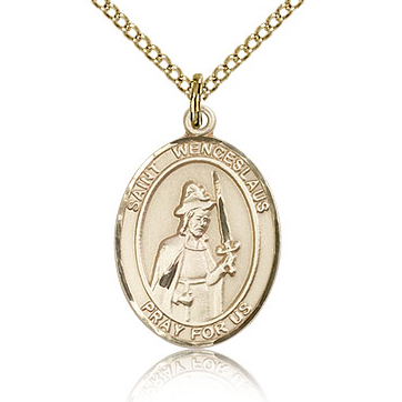 Gold Filled 3/4in St Wenceslaus Medal & 18in Chain