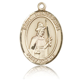 14kt Yellow Gold 3/4in St Wenceslaus Medal