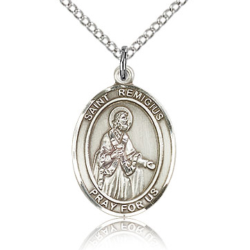Sterling Silver 3/4in St Remigius of Remis Medal & 18in Chain