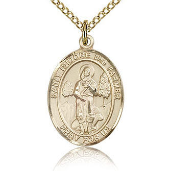 Gold Filled 3/4in St Isidore the Farmer Medal & 18in Chain