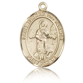 14kt Yellow Gold 3/4in St Isidore the Farmer Medal