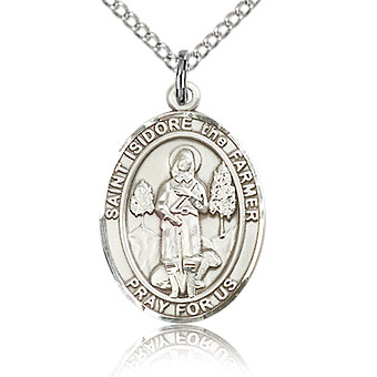 Sterling Silver 3/4in St Isidore the Farmer Medal & 18in Chain