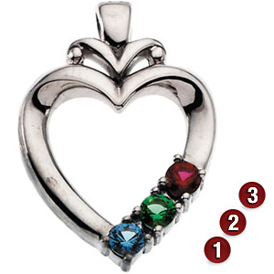 Modern Heart Sterling Silver Mother's Pendant