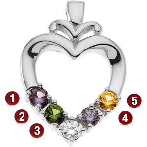 Modern Heart Sterling Silver Mother's Pendant