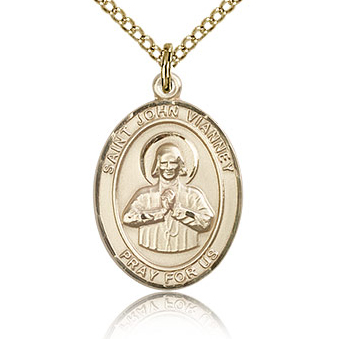 Gold Filled 3/4in St John Vianney Medal & 18in Chain