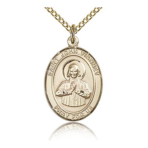 Gold Filled 3/4in St John Vianney Medal & 18in Chain