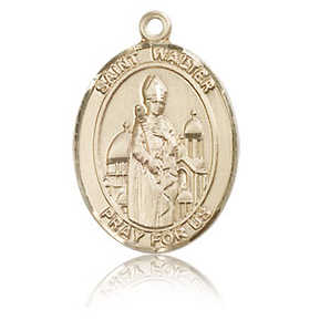 14kt Yellow Gold 3/4in St Walter Medal