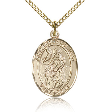 Gold Filled 3/4in St Peter Nolasco Medal & 18in Chain