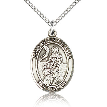 Sterling Silver 3/4in St Peter Nolasco Medal & 18in Chain