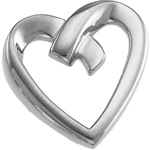 7/8in Heart Pendant - 14k White Gold