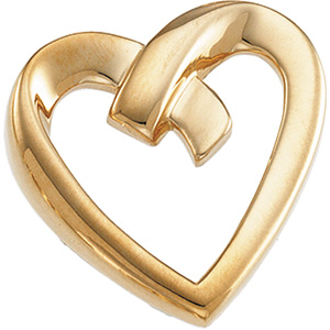 7/8in Heart Pendant - 14k Yellow Gold