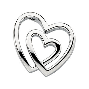 14kt White Gold 3/4in Double Heart Pendant