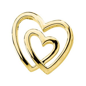 14k Yellow Gold 3/4in Double Heart Pendant