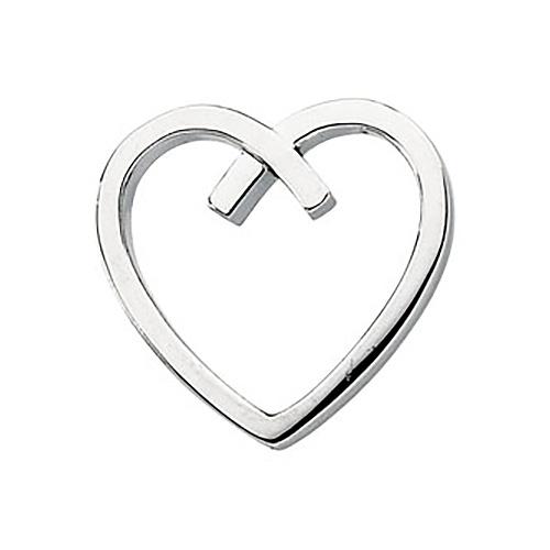 7/8in Heart Pendant - 14k White Gold