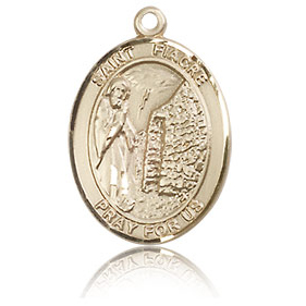 14kt Yellow Gold 3/4in St Fiacre Medal