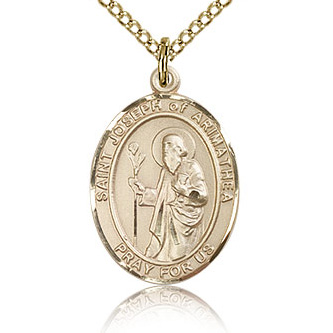 Gold Filled 3/4in St Joseph of Arimathea Medal & 18in Chain