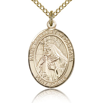 Gold Filled 3/4in St Margaret of Cortona Medal & 18in Chain