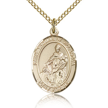 Gold Filled 3/4in St Thomas of Villanova Medal & 18in Chain