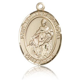 14kt Yellow Gold 3/4in St Thomas of Villanova Medal