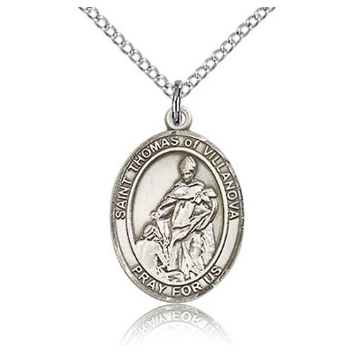 Sterling Silver 3/4in St Thomas of Villanova Medal & 18in Chain